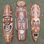 wholesale bali vintage hand carved wooden wall signs - vintage wall decor and home decor - hand carved mask